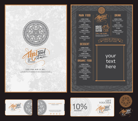 thai dessert: vector thai food restaurant menu template.