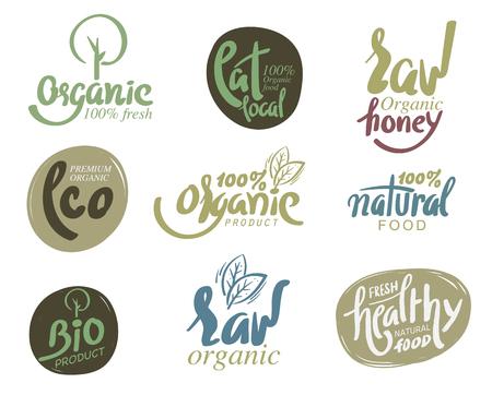 eco logo: Bio organic gluten free eco bio healthy food restaurant menu logo label templates.