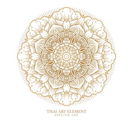 タイ芸術デザイン、伝統的な金装飾の要素です。結婚式招待状やグリーティング カードの装飾のビンテージ フレーム。  イラスト・ベクター素材