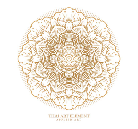 brocade: Thai art element for design, Traditional gold decor. Ornamental vintage frame for wedding invitations and greeting cards.