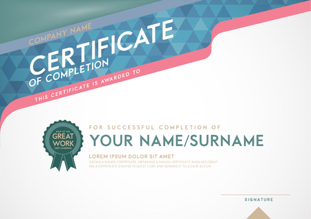 certificate template: Vector certificate template and frame. Illustration
