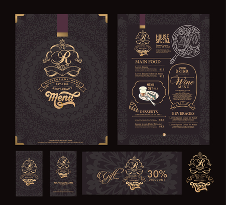 Vector restaurant menu template and symbol. Imagens - 53349967