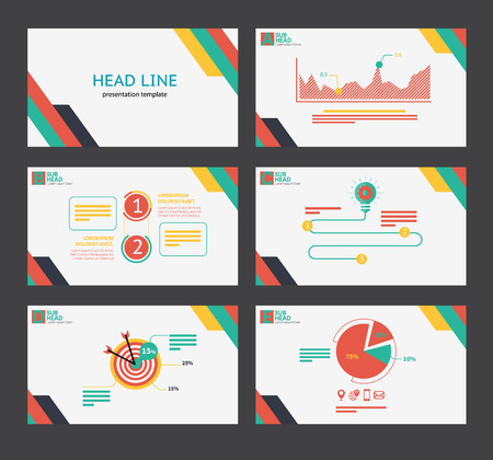 element template: Presentation template flat design set for brochure marketing and advertising and icon