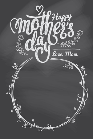 handdraw: handdraw Happy mothers day lettering card and template. Illustration