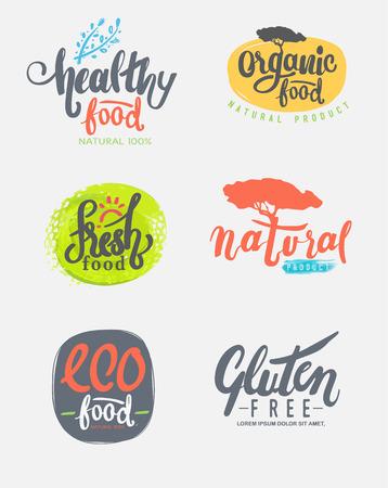 Organische glutenvrije eco bio gezond voedsel restaurant menu label sjablonen. Vector Illustratie