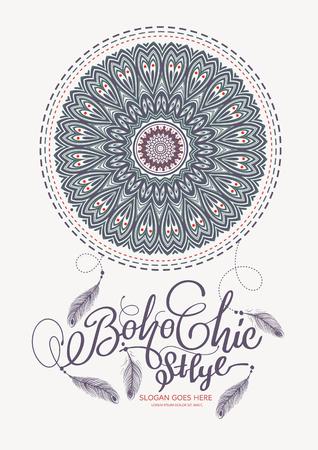chic: Boho Chic Style Elements illustration. Illustration