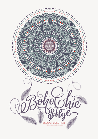 Boho Chic Style Elements illustration. Illustration