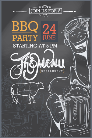 grill meat: Barbecue party invitation. BBQ template menu design Illustration