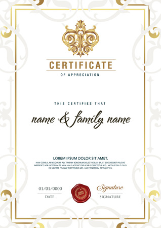 shares: Premium vector illustration of gold detailed certificate.