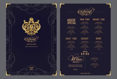 Premium modello di menu ristorante e simbolo.