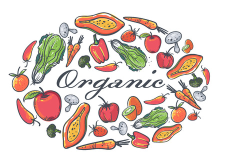 organic peppers sign: Organic fruits and vegetables elements,set for food and drink.