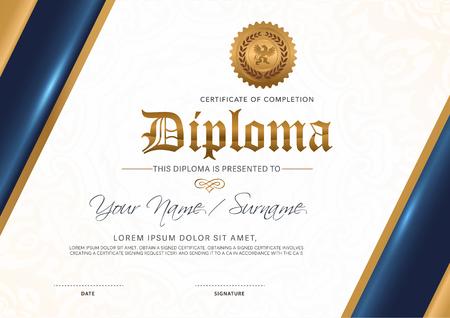 Modèle de certificat de luxe, certificat de prime d'or détaillé. Modèle de diplôme.