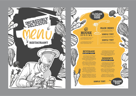 grilled vegetables: Creative menu design. Menu template and layout menu.