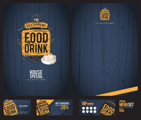 bg: Creative menu design. Menu template and layout menu.Background wood.