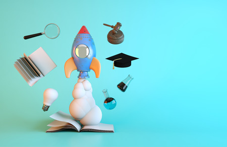 sucsess: The rocket motor is true of books. 3D Render and Illustrator.