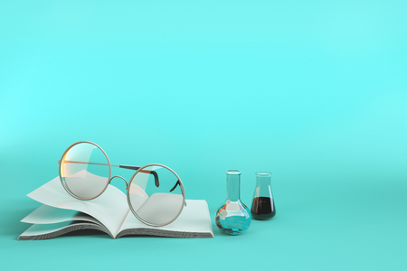 Equipment used for learning and experimentation. 3d render illustration group of scientists. Stock Photo