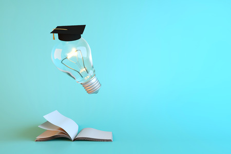 doctorate: Items related to success. 3D render and illustration.