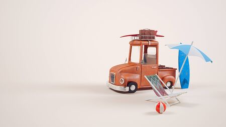 suitcase packing: 3d image small truck Picture a cute,