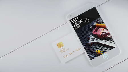 hardware tools: Mobile credit card slot on the side to wait for payment and message in front of Buy Now. 3D render and illustration.