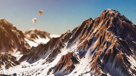 snowcapped: Snow-capped mountains.Balloon floating in the mountains. 3d render and illustration.