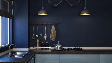 sales floor: Living in the kitchen looks stylish and elegant. 3d render and illustration.
