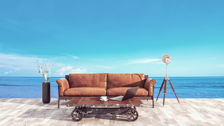 outdoor goods: The atmosphere in the office balcony at the sea. 3d render and illustration.