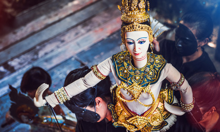 Thai Land Puppet Theater. Traditional Thai Khon puppet spectacle at Klong Bang Luang , Thailand Putting the snippet shares held. Stock Photo