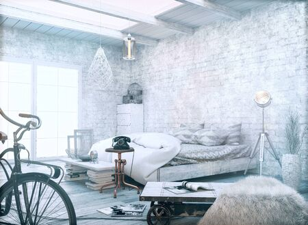 industrial decor: White vintage style. 3d render and illustration. Stock Photo
