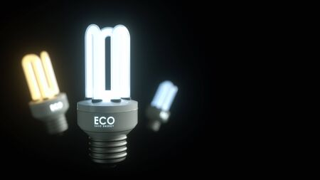 fluorescent lights: Energy saving lamp on a black background with the letters ECO Save energy.