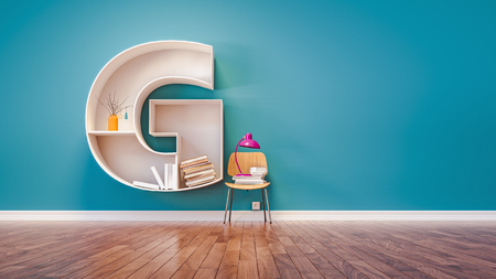Room for learning The letter G has designed a bookshelf. 3d render and illustration.