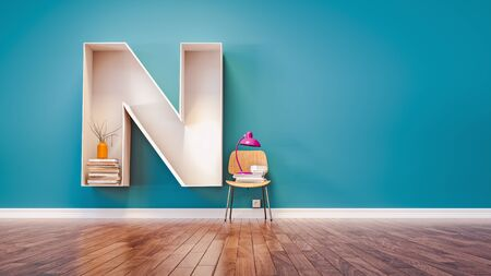 Room for learning The letter N has designed a bookshelf. 3d render and illustration. Stock Photo