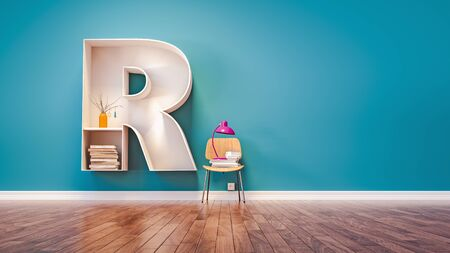Room for learning The letter R has designed a bookshelf. 3d render and illustration.