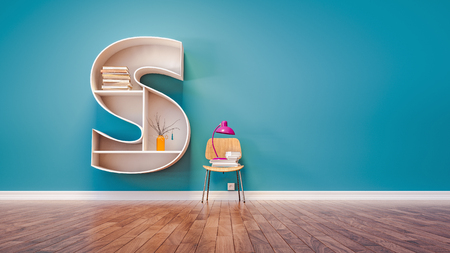 Room for learning The letter S has designed a bookshelf. 3d render and illustration.