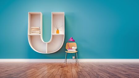 Room for learning The letter U has designed a bookshelf. 3d render and illustration. Stock Photo