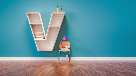 Room for learning The letter V has designed a bookshelf. 3d render and illustration.