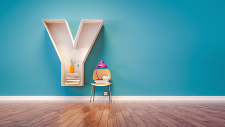 Room for learning The letter Y has designed a bookshelf. 3d render and illustration.