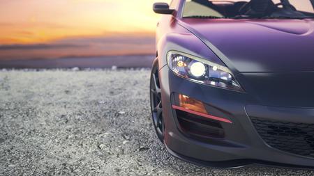 Zbliżone samochody luksusowe, gdy słońce ustawia się za kulisami.