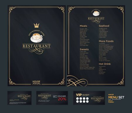 Creative menu design. Layout design, Design set for menu restaurant. Illustration