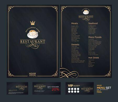 Design del menu creativo. Disegno del layout, Design impostato per il ristorante menu. Archivio Fotografico - 71498965