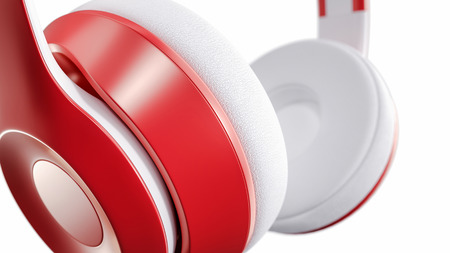 portable audio: Close-up of headphones on a white background. Modern, colorful, eye-catching Ideal to do illustrations for the text input.