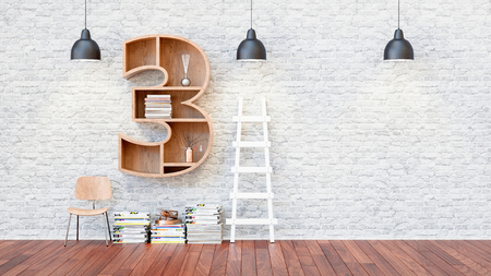 three shelves: A library with bookshelves a letter 3. 3d render and illustration.