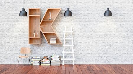 A library with bookshelves a letter k. 3d render and illustration.
