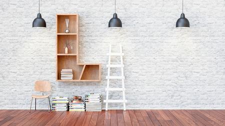 Une bibliothèque avec des étagères une lettre l. Le rendu 3D et l'illustration.