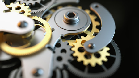 Black and gold clock gear Is made up of 3d programs. 3d render and illustration. Stock Photo