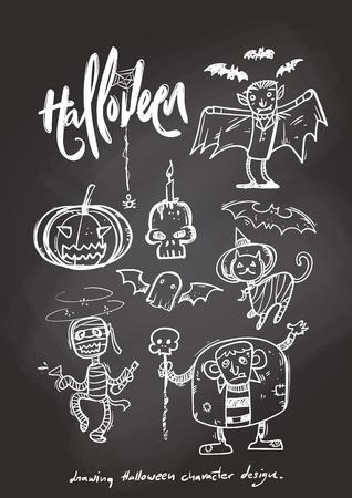 silueta de gato: Drawing halloween character design. Vectores