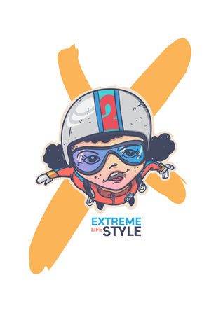 Extreme sport parachute cartoon character design. Illustration