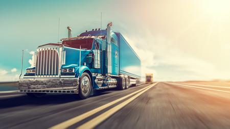 El camión corre por la carretera con velocidad. Procesamiento 3d e ilustración.