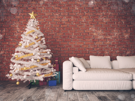 contemporary living room: chrismas room and decorated. 3D renderring and illustration,