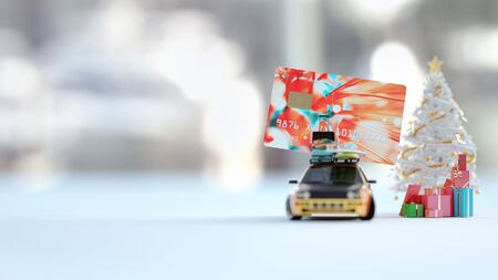 e shop: Cars with credit cards are on the roof. 3d rendering and illustration. Stock Photo