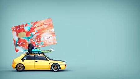 クレジット カードで車が屋根の上です。3 d レンダリングやイラスト。